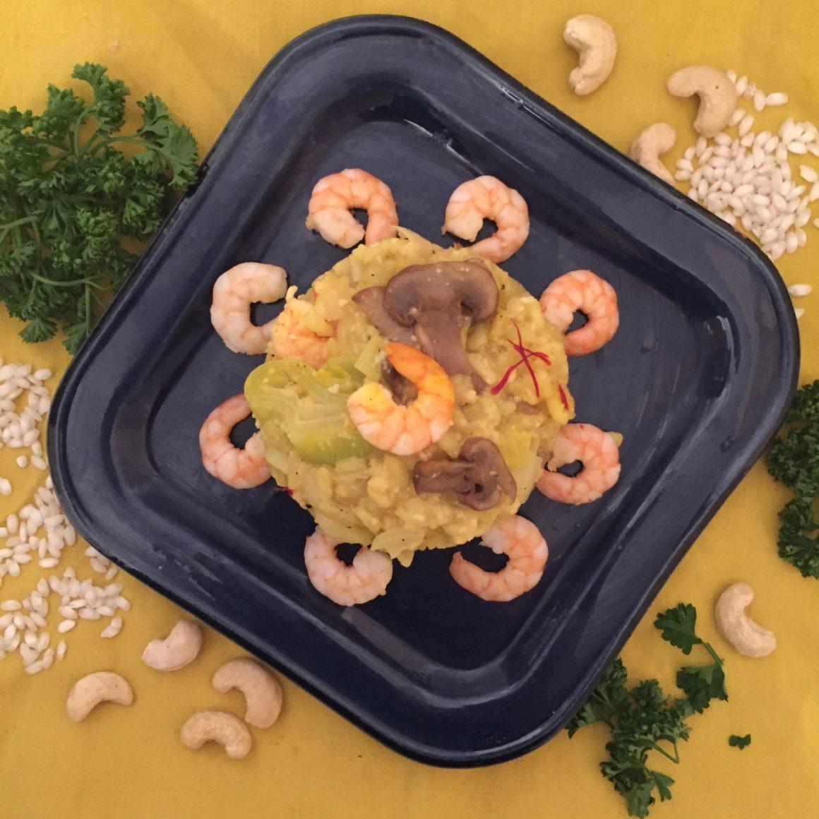 risotto sans produits laitiers : crevettes et poireaux