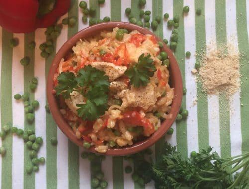 Risotto sans lactose, crémeux, au poulet et aux poivrons