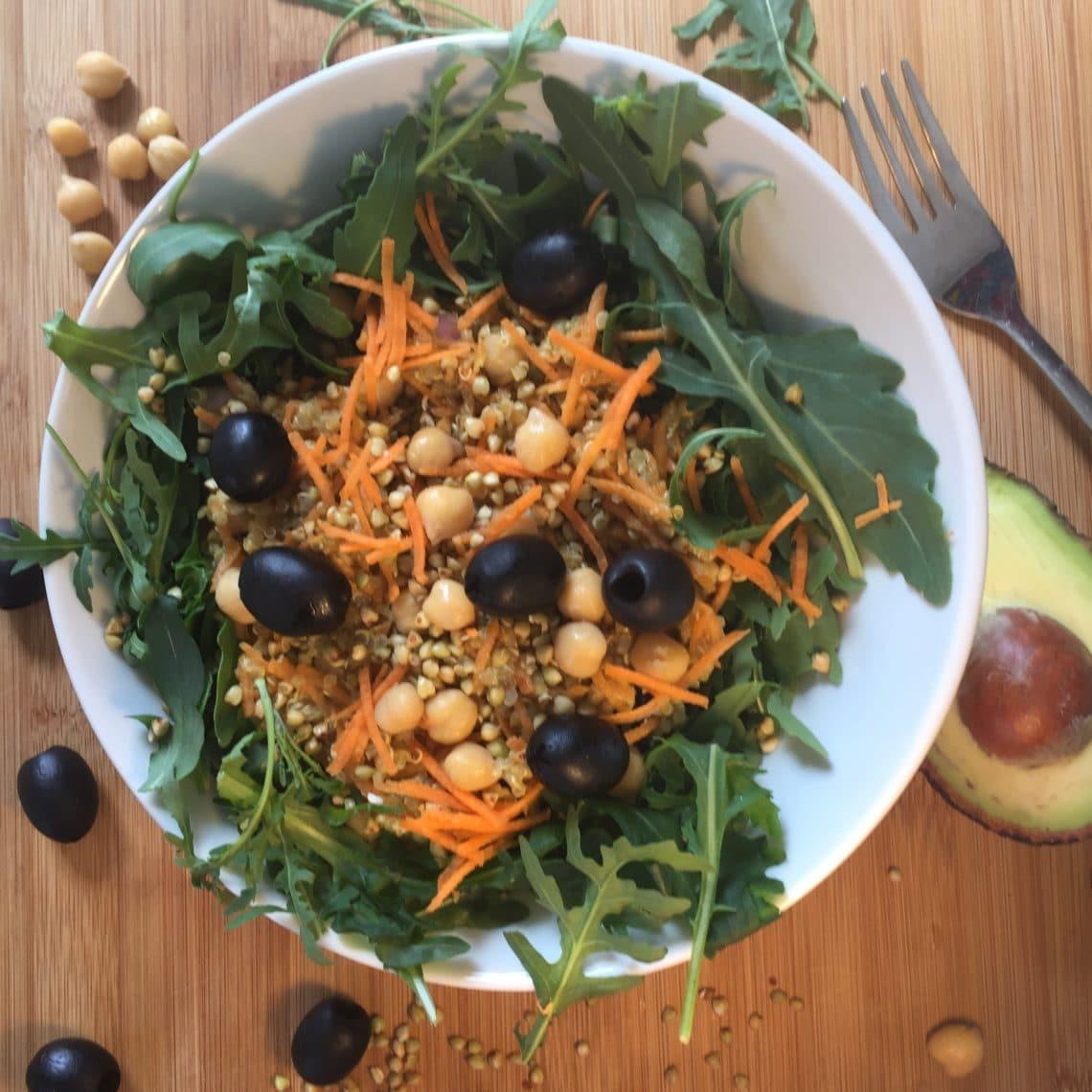 sans gluten ni lactose : salade de quinoa au sarrasin