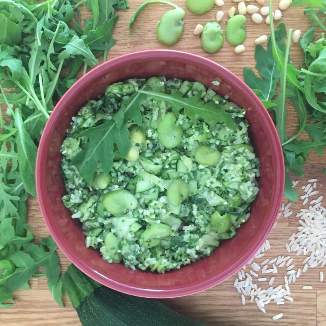 Sans gluten et sans lactose : salade de fèves au pesto de roquette