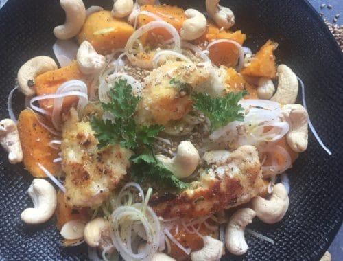 sans lactose ni gluten : salade de dinde, patate douce et poireau